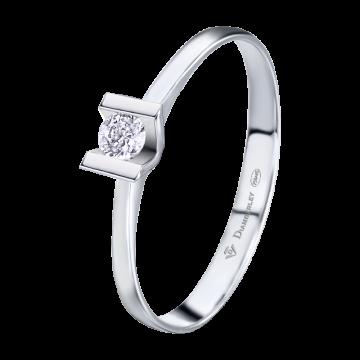 Anillo de oro blanco 18 kts. con diamante 0,08 ct.