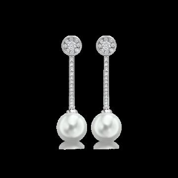 Pendientes de oro blanco con diamantes 1,10 ct y perlas australianas