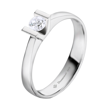 Anillo de oro blanco 18 kts. con diamante 0,15 ct.