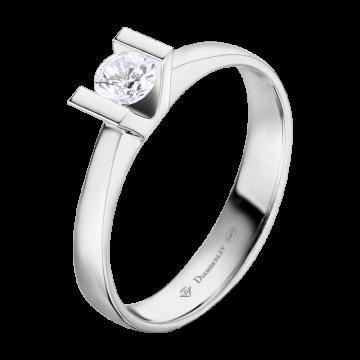 Anillo de oro blanco 18 kts. con diamante 0,20 ct.