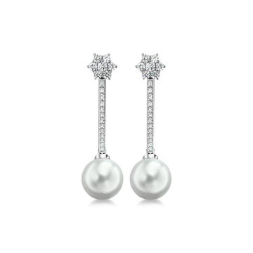 Pendientes de oro blanco con diamantes 1,32 ct y perlas australianas