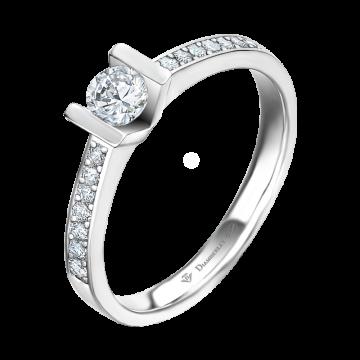 Anillo de oro blanco 18 kts con diamantes 0,38 ct.