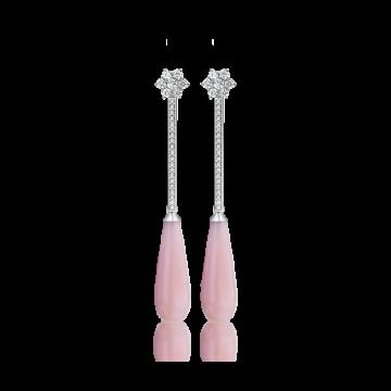 Pendientes de oro blanco con diamantes 0,60 ct y ópalo rosa