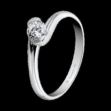 Anillo de oro blanco 18 kts. con diamante 0,35 ct.