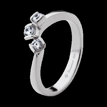 Anillo de oro blanco 18 kts con diamantes 0,18 ct.