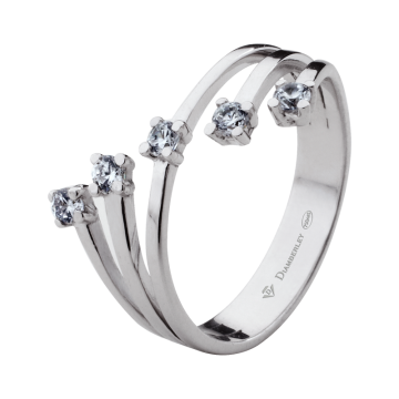 Anillo de oro blanco 18 kts con diamantes 0,23 ct.