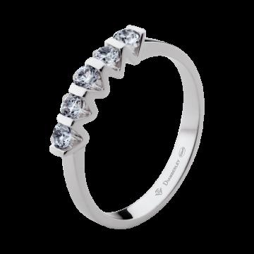 Anillo de oro blanco 18 kts con diamantes 0,30 ct.