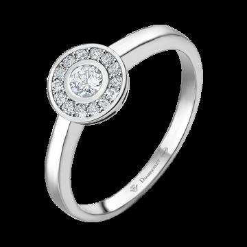 Anillo de oro blanco con diamantes 0,13 ct.