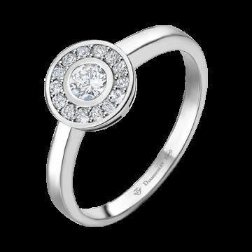 Anillo de oro blanco con diamantes 0,24 ct.
