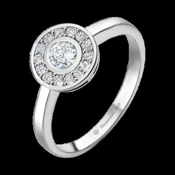 Anillo de oro blanco con diamantes 0,30 ct.