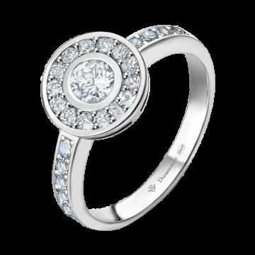 Anillo de oro blanco con diamantes 0,60 ct.