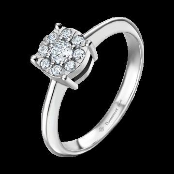 Anillo de oro blanco con diamantes 0,22 ct.