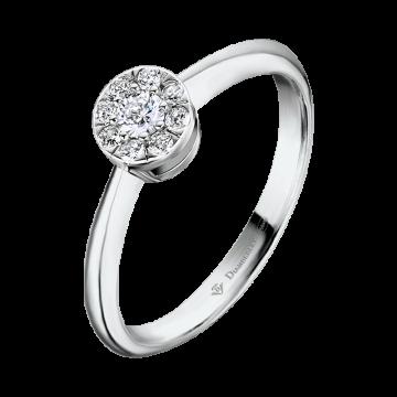 Anillo de oro blanco con diamantes 0,10 ct.