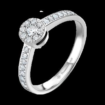 Anillo de oro blanco con diamantes 0,18 ct.