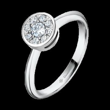 Anillo de oro blanco con diamantes 0,14 ct.