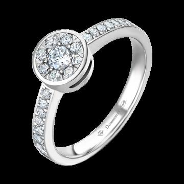 Anillo de oro blanco con diamantes 0,23 ct.