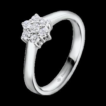 Anillo de oro blanco con diamantes 0,12 ct.