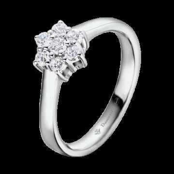 Anillo de oro blanco con diamantes 0,20 ct.