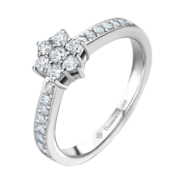 Anillo de oro blanco con diamantes 0,21 ct.