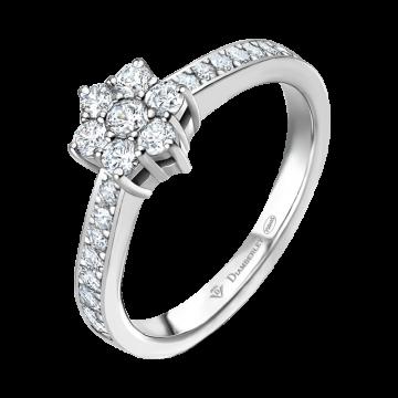 Anillo de oro blanco con diamantes 0,29 ct.