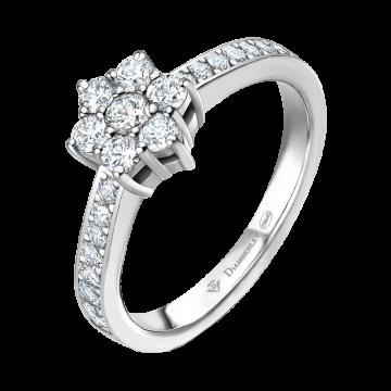 Anillo de oro blanco con diamantes 0,46 ct.