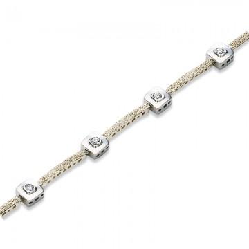 Pulsera de oro blanco con diamantes 0,11 ct.