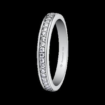 Alianza de oro blanco con diamantes 0,21 ct.