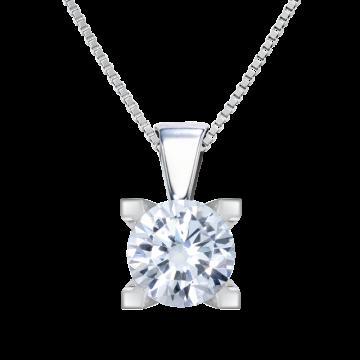 Colgante de oro blanco 18 kts con diamante 0,20 ct.