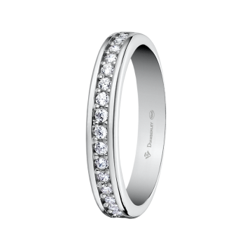 Alianza de oro blanco con diamantes 0,26 ct.