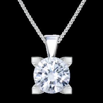 Colgante de oro blanco 18 kts con diamante 0,30 ct.