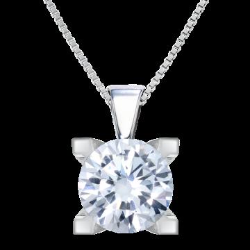 Colgante de oro blanco 18 kts con diamante 0,35 ct.