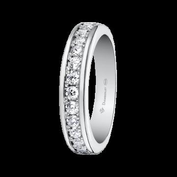 Alianza de oro blanco con diamantes 0,60 ct.