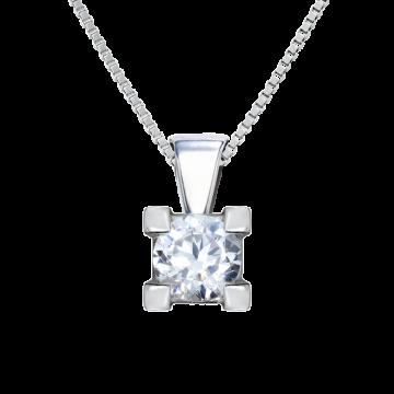 Colgante de oro blanco 18 kts con diamante 0,10 ct.