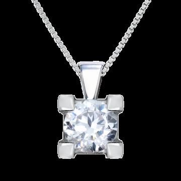 Colgante de oro blanco 18 kts con diamante 0,25 ct.