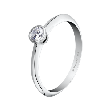 Anillo de compromiso oro blanco con diamante 0,20 ct.