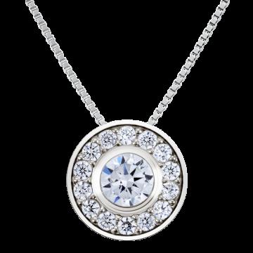 Colgante de oro blanco con diamantes 0,41 ct.