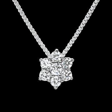 Colgante y cadena de oro blanco de 18 kts con diamantes 0,10 ct.