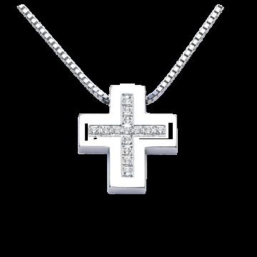 Cruz de oro blanco con diamantes 0,07 ct.