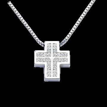 Cruz de oro blanco con diamantes 0,15 ct.