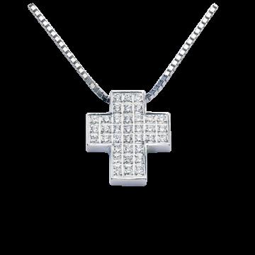 Cruz de oro blanco con diamantes 0,36 ct.