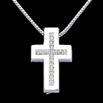 Cruz de oro blanco con diamantes 0,18 ct.