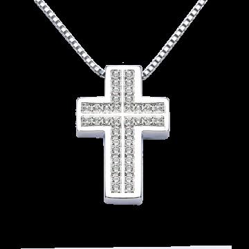 Cruz de oro blanco con diamantes 0,38 ct.