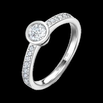 Anillo de compromiso oro blanco con diamantes 0,57 ct.