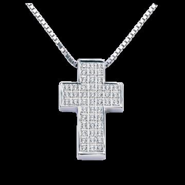 Cruz de oro blanco con diamantes 0,48 ct.