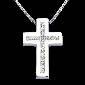 Cruz de oro blanco con diamantes 0,22 ct.