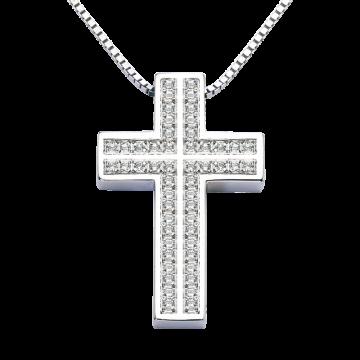 Cruz de oro blanco con diamantes 0,50 ct.