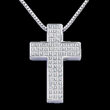 Cruz de oro blanco con diamantes 0,75 ct.