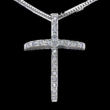 Cruz de oro blanco con diamantes 0,11 ct.