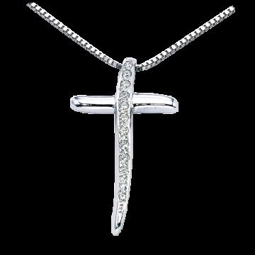 Cruz de oro blanco con diamantes 0,06 ct.