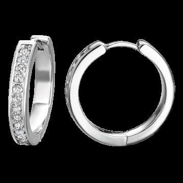 Pendientes de oro blanco con diamantes 0,36 ct.